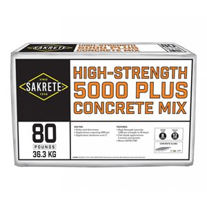 Sakrete 5000 Plus High Strenth Concrete Mix 80 lb bag
